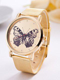 Steel Band Butterfly Quartz Watch - Golden