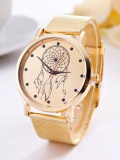 Steel Band Circle Floral Quartz Watch - Golden