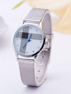 Rhinestone Geometric Stripe Quartz Watch - Silver