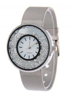 Circle Dial Plate Natural Beads Watch - Silver