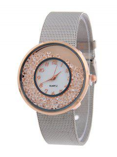 Circle Dial Plate Natural Beads Watch - Rose Gold