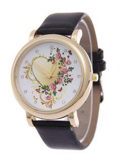 Rhinestone PU Leather Floral Heart Watch - Black