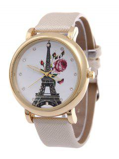 Eiffel Tower Floral Butterfly Rhinestone Watch - White