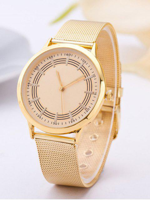 lady Circle Dial Plate Steel Band Watch - GOLDEN  Mobile