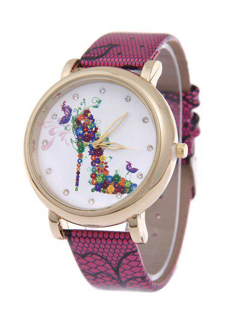 outfit Flower Rhinestone High Heel Quartz Watch - ROSE RED  Mobile