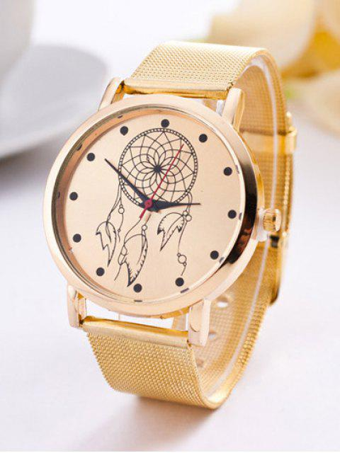 fancy Steel Band Circle Floral Quartz Watch - GOLDEN  Mobile