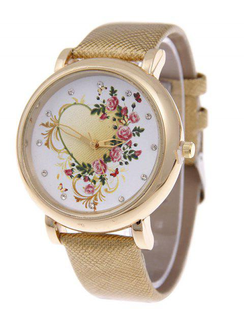 online Rhinestone PU Leather Floral Heart Watch - GOLDEN  Mobile