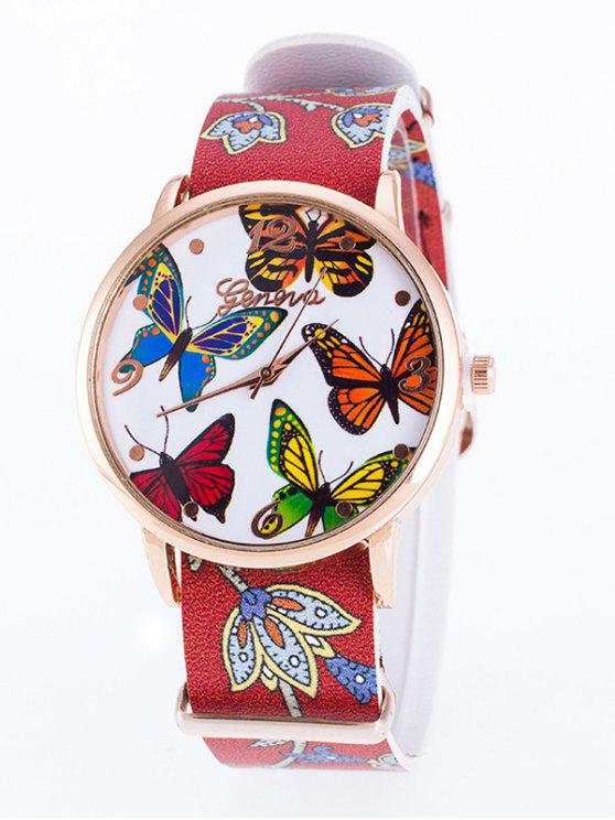 fashion Faux Leather Butterfly Quartz Watch - RED