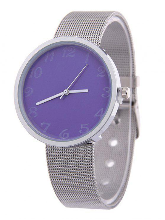 Banda de Acero de Aleación Análogo de Reloj de Cuarzo - Púrpura