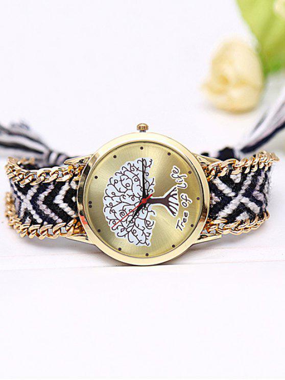 shop Life Tree Quartz Braid Bracelet Watch - BLACK