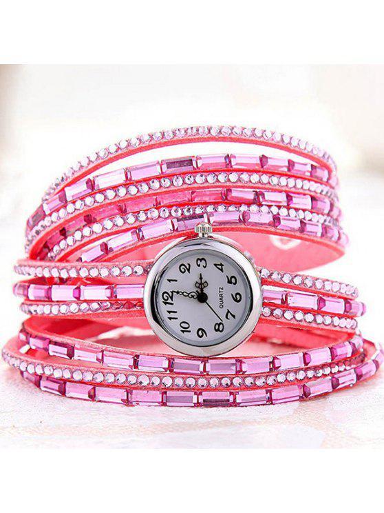 Quartz Bracelet Montre avec Strass - ROSE PÂLE