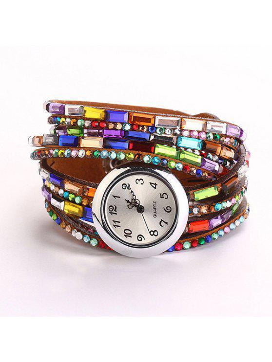 Artificial Gema de Criterium de Reloj Brazalete de Cuarzo - Marrón