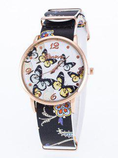 Faux Leather Butterfly Quartz Watch - Black
