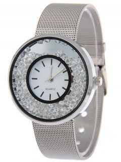 Steel Band Natural Beads Quartz Watch - Silver