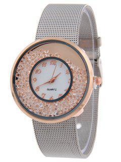 Steel Band Natural Beads Quartz Watch - Rose Gold