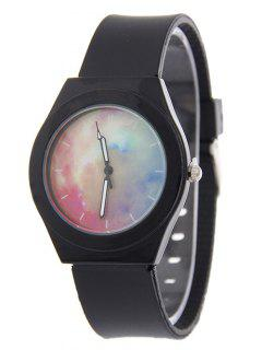 Starry Sky Pattern Quartz Silicone Watch - Black