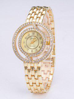 Circle Rhinestone Steel Band Quartz Watch - Golden