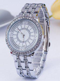 Circle Rhinestoned Steel Band Quartz Watch - Silver