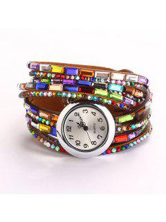 Faux Gem Quartz Wrap Bracelet Watch - Brown