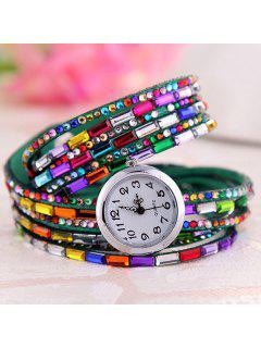 Faux Gem Quartz Wrap Bracelet Watch - Green