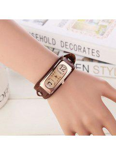 Faux Leather Geometric Wrist Bracelet Watch - Brown