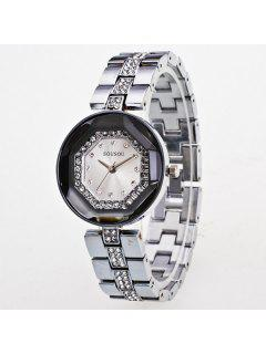 Vintage Rhinestone Geometric Quartz Analog Watch - Silver