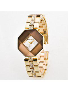 Rhinestone Geometric Quartz Analog Watch - Champagne