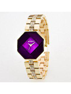 Rhinestone Geometric Quartz Analog Watch - Purple