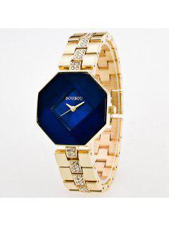 Rhinestone Geometric Quartz Analog Watch - Blue