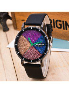 Geometric Multicolored Dial Plate Quartz Watch - Black