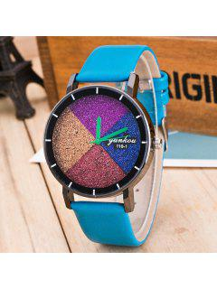 Geometric Multicolored Dial Plate Quartz Watch - Blue