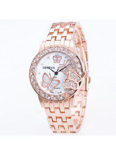 Mariposa Diamante De Imitación De Banda De Acero De Reloj De Cuarzo - Rosa De Oro