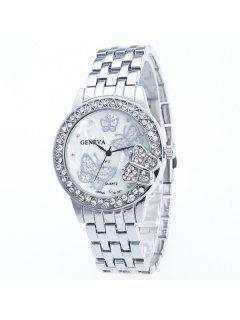 Rhinestone Butterfly Steel Band Quartz Watch - Silver
