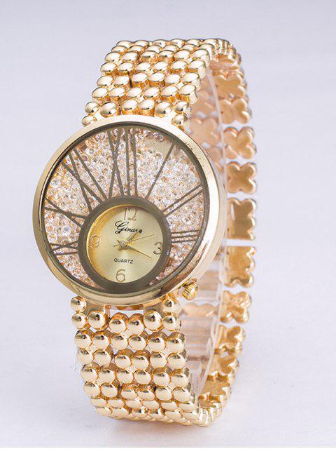 affordable Vintage Steel Band Natural Beads Watch - GOLDEN  Mobile