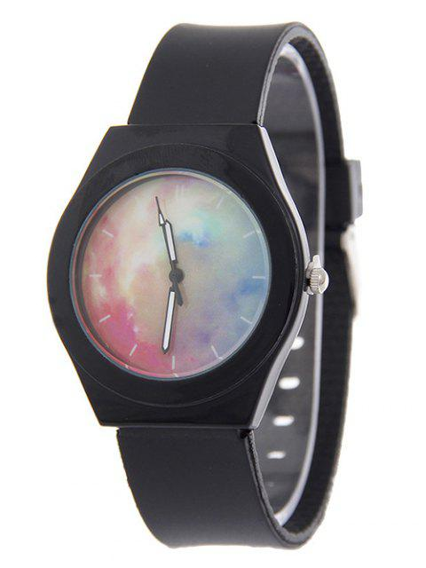 womens Starry Sky Pattern Quartz Silicone Watch - BLACK  Mobile