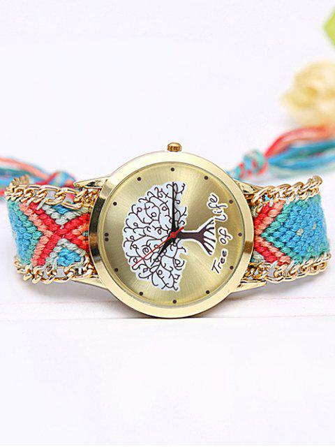 latest Life Tree Quartz Braid Bracelet Watch - AZURE  Mobile