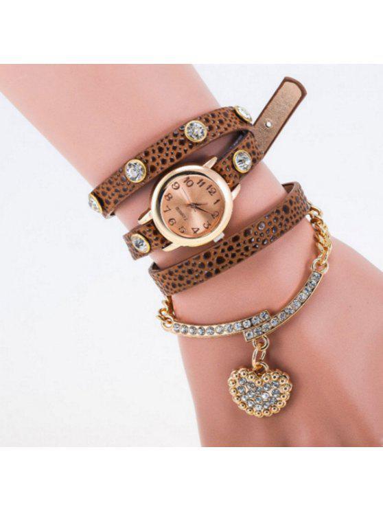 chic Rhinestone Heart Quartz Bracelet Wristband Watch - BROWN
