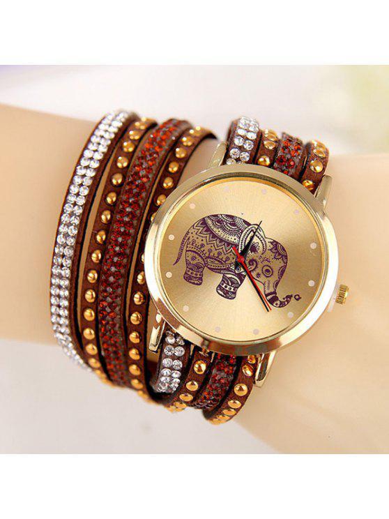 women's Rhinestone Elephant Quartz Bracelet Wristband Watch - BROWN