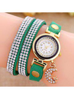 Rhinestone Moon Star Wristband Bracelet Watch - Green