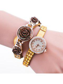 Rose Floral Rhinestone Wristband Bracelet Watch - Yellow