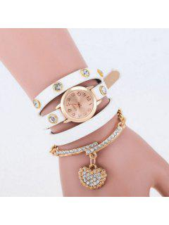 Rhinestone Heart Quartz Bracelet Wristband Watch - White