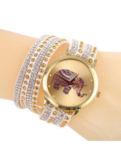 Quartz Bracelet Montre Avec Strass Pendentif D'Eléphant - Blanc