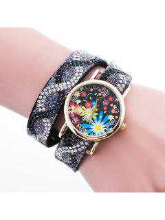 Rhinestone Floral Quartz Bracelet Wristband Watch - Black