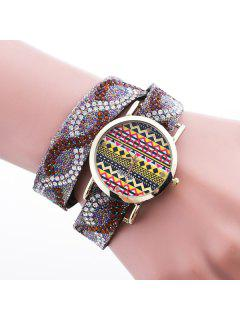 PU Leather Rhinestone Bracelet Wristband Watch - Brown