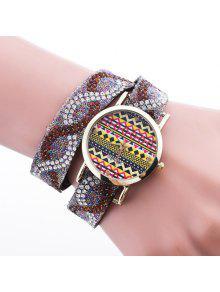 Cuero De PU Diamante De Imitación De Pulsera De Reloj Brazalete - Marrón