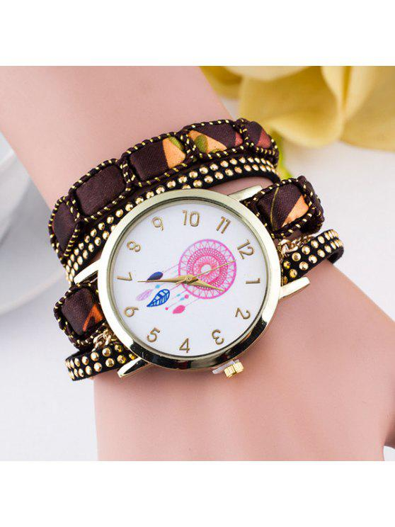 lady Feather Floral Wrap Bracelet Quartz Watch - BROWN