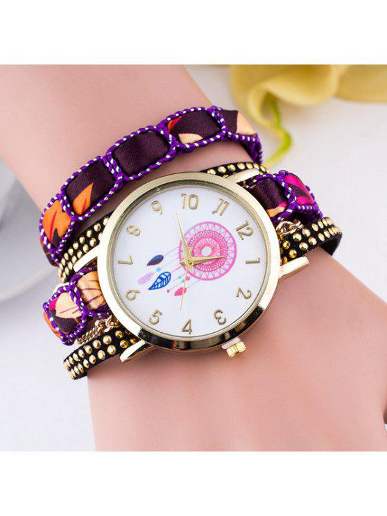 online Feather Floral Wrap Bracelet Quartz Watch - PURPLE