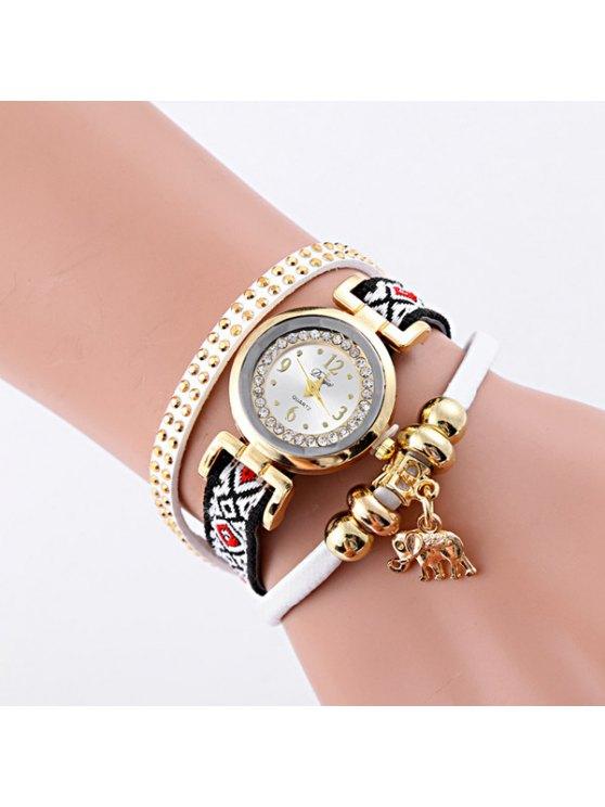 Bracelet Montre avec Strass Pendentif d'Eléphant de Cuir Faux - Blanc