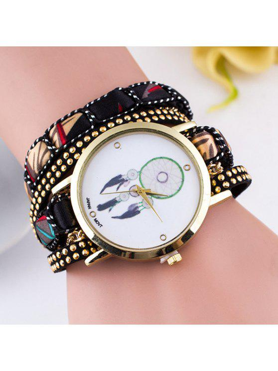 trendy PU Leather Feather Wrap Bracelet Watch - BLACK