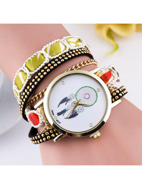 chic PU Leather Feather Wrap Bracelet Watch - YELLOW